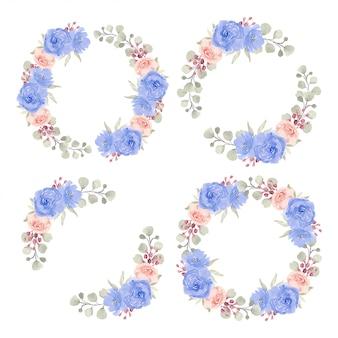 Граница круга акварельной розы флористическая для комплекта украшения