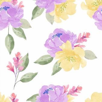 牡丹とカラフルな水彩花柄シームレスパターン