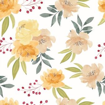 水彩の黄色の牡丹の花のシームレスパターン