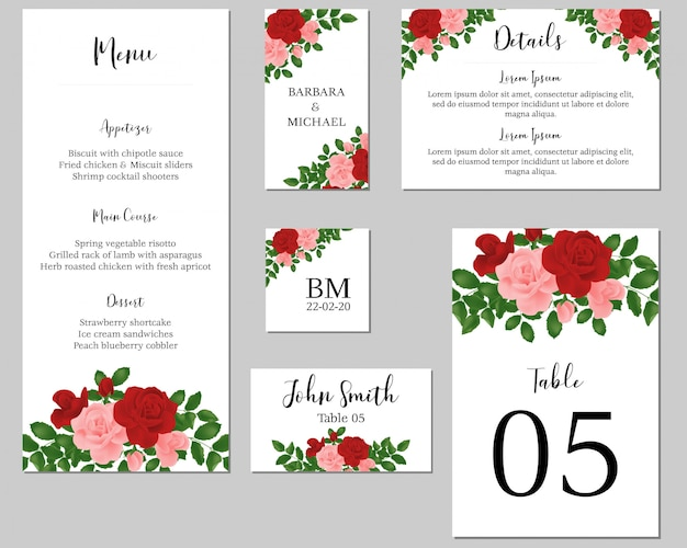 バラの花束と結婚式の静止テンプレート