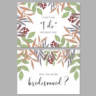 緑と花の花嫁介添人グリーティングカード