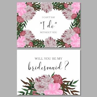 花の花嫁介添人グリーティングカードテンプレート