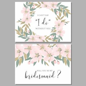 桜の花と花嫁介添人グリーティングカードテンプレート