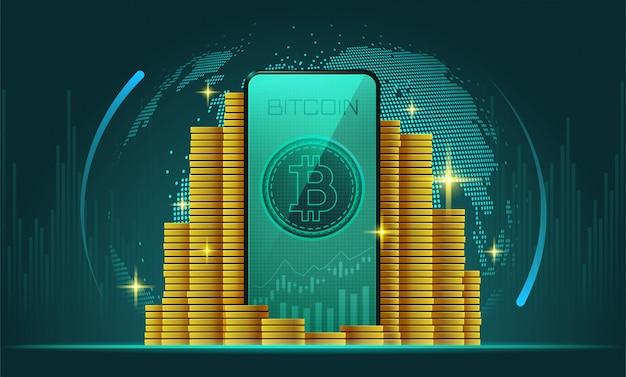 Криптовалюта и смартфон с биткойнами на экране