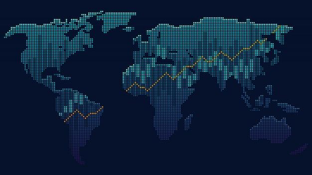グローバルネットワークのドットアートのコンセプト