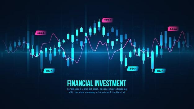 グラフィックコンセプトの株式市場または外国為替取引のグラフ