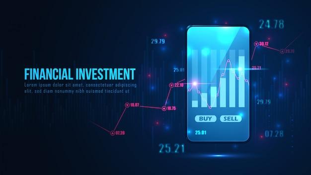 スマートフォンのコンセプトの株式市場または外国為替オンライン取引グラフ