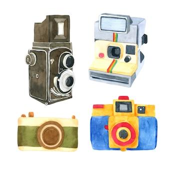 白い背景の上のカメラ水彩画コレクション