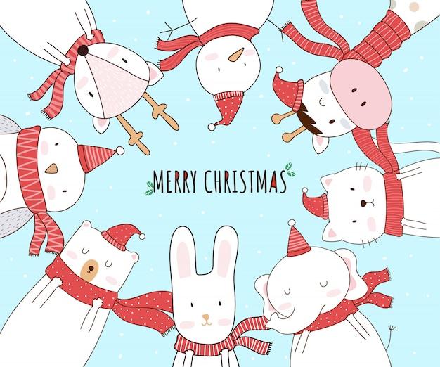 Рождественский мультфильм животных милый персонаж для поздравительной открытки