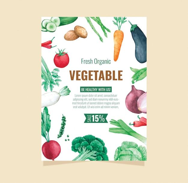 Овощной плакат шаблон рука нарисовать акварелью концепция здоровых свежих продуктов