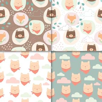 かわいい動物のシームレスなパターンのセット、子供のためのクマと猫のかわいい漫画。