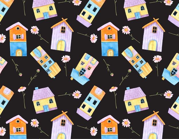 リトルかわいい家と水彩でピンクの花のシームレスなパターン。