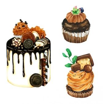 水彩画のチョコレートケーキのセット