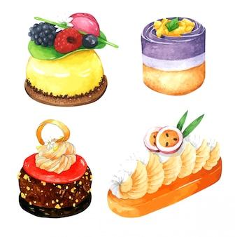 Набор красочных торта в акварели