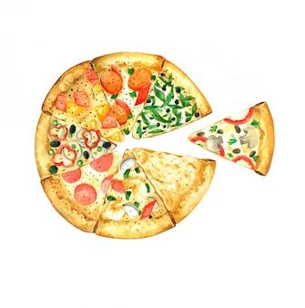 ピザ手描きデザインの水彩画の要素