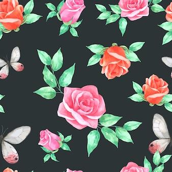 バラの花の水彩画のビンテージスタイルのシームレスパターン