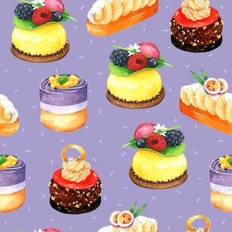 Торт бесшовные шаблон в акварели с фиолетовым фоном