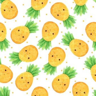 パイナップル夏シームレスパターンの水彩画