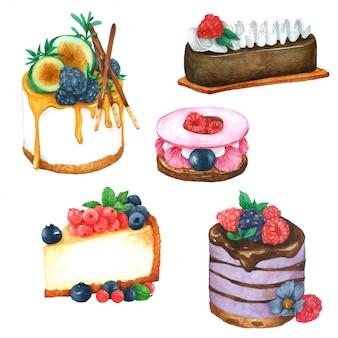 水彩画コレクションに描かれたケーキ手