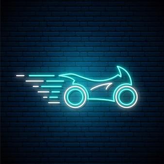 Светящийся неоновый спортивный мотоцикл знак.