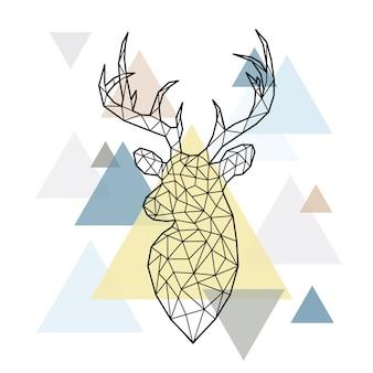 森林のシカの多角形の頭部を抽象化します。
