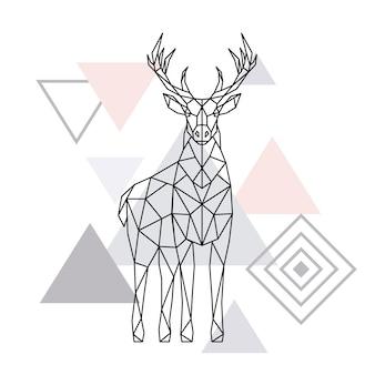 抽象的な多角形の鹿。