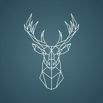 幾何学的な鹿の肖像画。