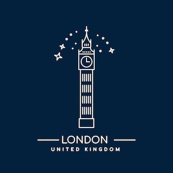 ロンドンのビッグベンタワー。ラインアートアイコン。