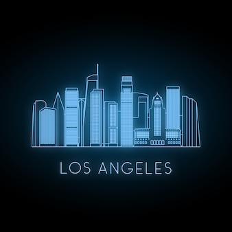 ロサンゼルス市のネオンのシルエット。