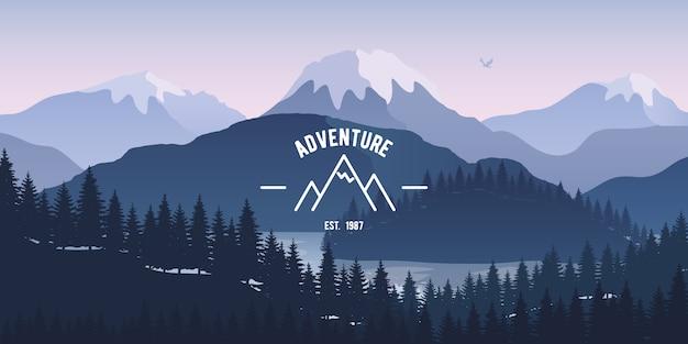 湖での反射と山の風景。