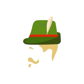 伝統的なドイツの緑の帽子を持つ男。
