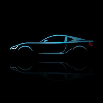 反射と青のスポーツカーのシルエット。