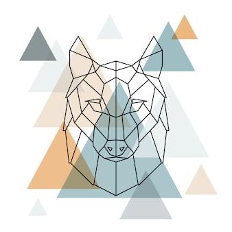 幾何学的なオオカミのイラスト