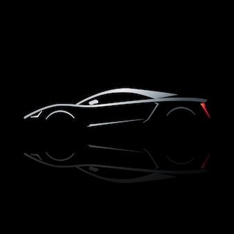 Концепция спортивный автомобиль силуэт с отражением.