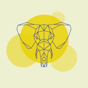 象の頭の幾何学的な線のシルエット。