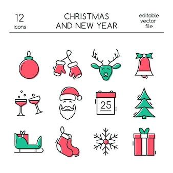 Рождественские и новогодние иконки в стиле линии.