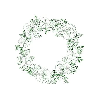 緑の森の花と葉の花輪。