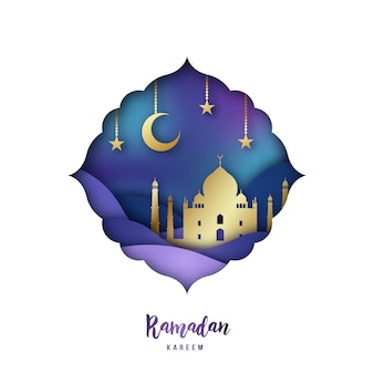 アラビア語折り紙のモスクを持つラマダンカレンのイラスト。