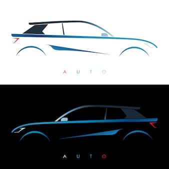 デザインの青い車