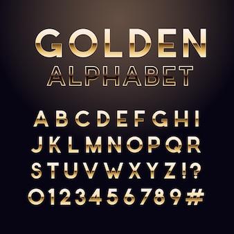 黄金の光沢のあるフォントです。