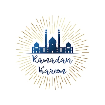 Рамадан карим эмблема с мечетью.