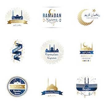 Набор шаблонов дизайна для рамадана карима.