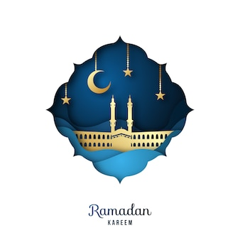 Рамадан карим поздравительная открытка с золотой мечетью.