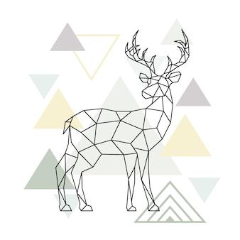 抽象的なスカンジナビアの幾何学的な鹿。