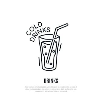 Значок линии холодных напитков. коктейль символ