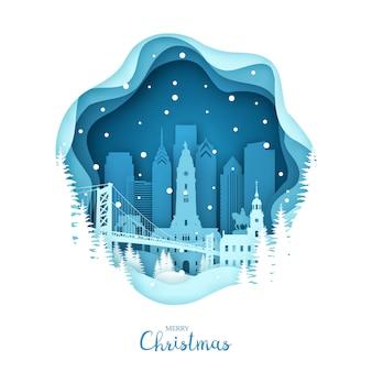 Рождество в филадельфии в снегу
