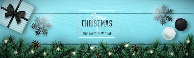 クリスマスと新年あけましておめでとうございますバナー