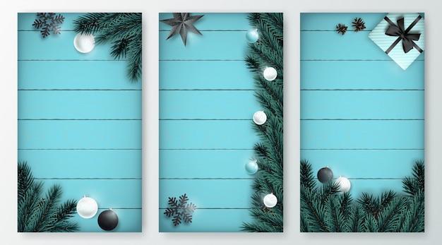 垂直クリスマス背景セット