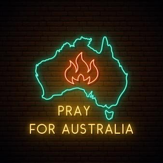 Молитесь за австралию неоновая вывеска.