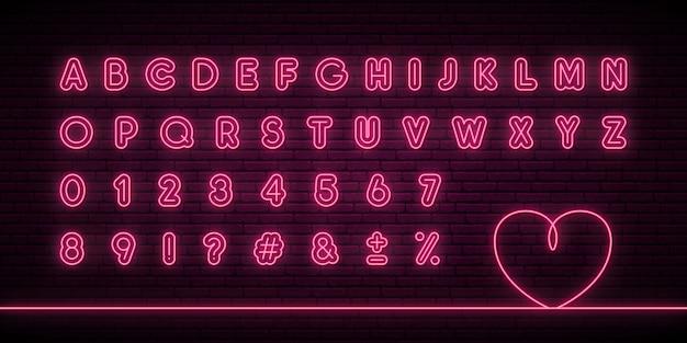 輝くネオンのアルファベット。